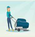 woman cleaning the store floor with a machine vector image vector image