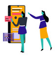 women using smartphone or gadget box for shopping vector image