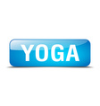 yoga blue square 3d realistic isolated web button vector image vector image