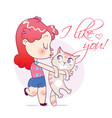 cartoon girl kissing and strongly cuddling cat vector image
