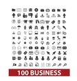 100 business and office icons signs set vector image vector image