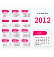 2012 calendar template vector image