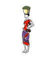 african woman in nation clothes hand drawn icon vector image vector image