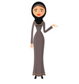 arab woman in black hijab presenting something vector image vector image