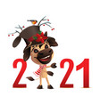 bull symbol 2021 new year wishes merry vector image vector image