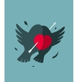 Bullfinch Birds Heart Love Couple with Arrow vector image