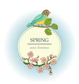 Card with tit on a branch and cherry flowers vector image vector image