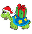 christmas turtle with gift vector image