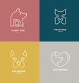 Dog Linear Labels vector image vector image