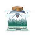 drone delivery service with box and cityscape icon vector image vector image