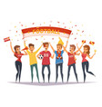 fan rooter buff group composition vector image vector image