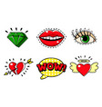 fashion stickers badges in pop art retro style set vector image vector image