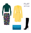 Flat Style Womans Look Fashion wear vector image