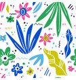 floral hand drawn seamless pattern vector image vector image