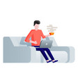 freelancer on sofa working at home with laptop vector image