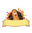 Funny hot dog banner vector image