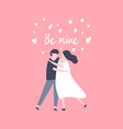hand drawn couple in love and lettering be mine vector image vector image