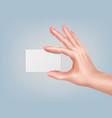 hand keeping card vector image vector image