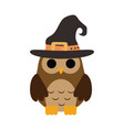 happy halloween cute owl with witch hat trick vector image vector image