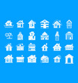 house icon blue set vector image
