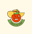 ketchup emblem with banner tomato in a hat vector image