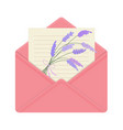 letter in open pink envelope with bouquet of vector image vector image