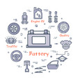 linear round banner of battery - car part vector image vector image