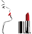 lipstick white face vector image