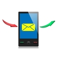 mobile smart phone with message icon on a screen vector image vector image