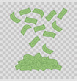 money banknotes on transparent background falling vector image