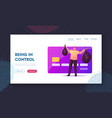 noncontact payment landing page template man vector image vector image