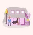 old man pet owner vector image vector image