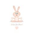 pink love rabbit vector image vector image