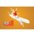 plane crash falling down from sky with flight vector image vector image