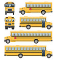 school bus side front back view vector image vector image