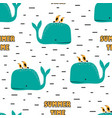 seamless pattern with whales and birds vector image vector image