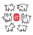 set of chinese new year hand drawn symbols - pig vector image