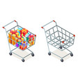 shopping cart purchase goods gift isolated object vector image