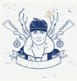 sketch hunter man with beard vector image vector image
