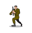 Soldier Aiming Sub-Machine Gun Cartoon vector image