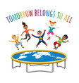 trampoline jumping children vector image