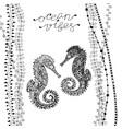 two zen art style sea horses with handwritten vector image vector image