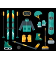 Winter sports equipment set- ski curling skates vector image vector image