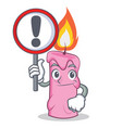 with sign candle character cartoon style vector image