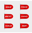 Set of red sales labels vector image