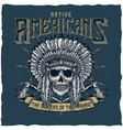 american indian chief skull with tomahawk vector image
