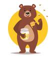 bear character eating honey vector image