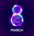 8 march in neon circles with glow and firework vector image vector image