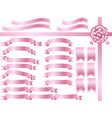 a set of assorted pink ribbons vector image vector image