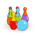 bowling pins and one ball isolated vector image